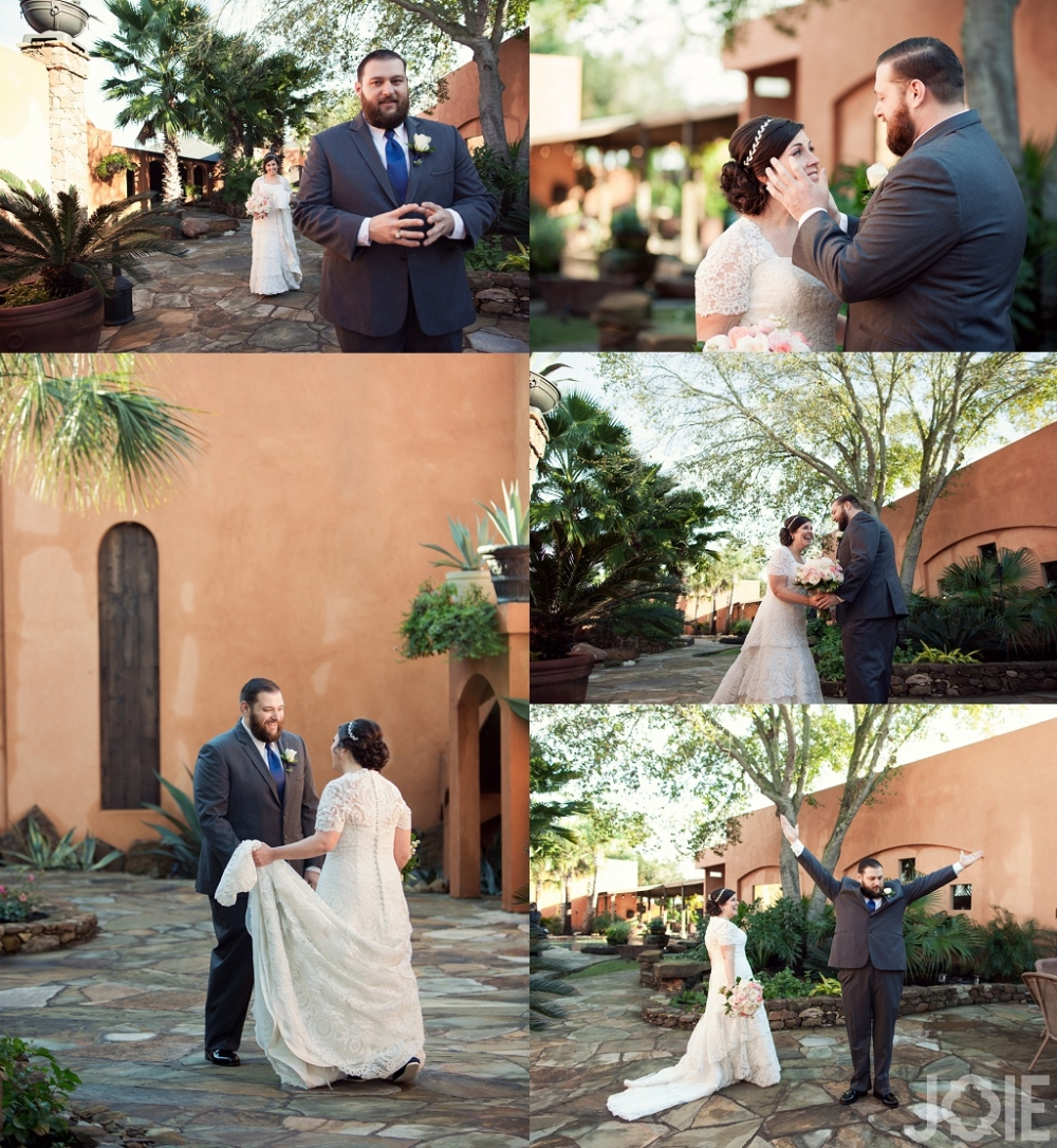 Annie & Chris Wedding day first look at Agave Real by Joie Photographie