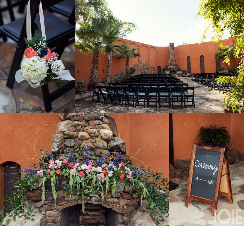 Outdoor wedding ceremony and flowers at Agave Real by Joie Photographie