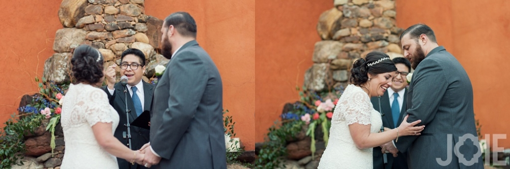 Outdoor wedding ceremony at Agave Real by Joie Photographie in Houston