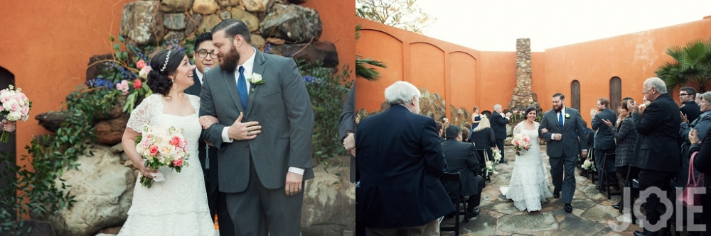 Outdoor wedding ceremony at Agave Real by Joie Photographie in Katy