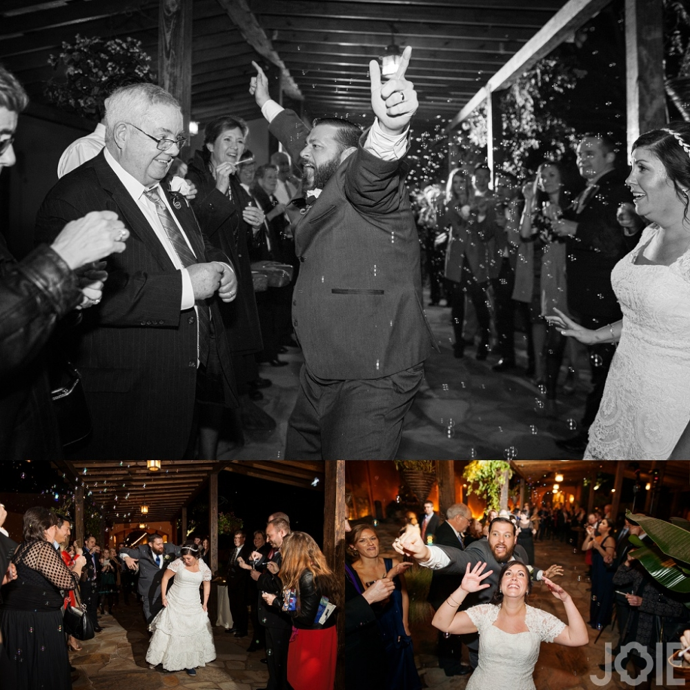 Wedding reception exit with bubbles at Agave Real by Joie Photographie Houston