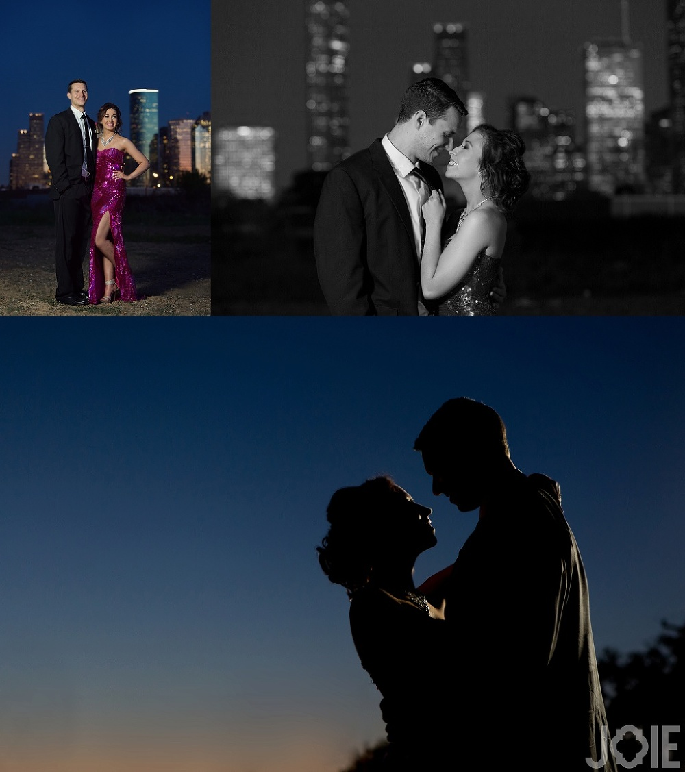 formal downtown houston engagement session at night with city skyline by Joie Photographie