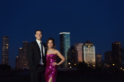 formal downtown houston engagement session at night by Joie Photographie